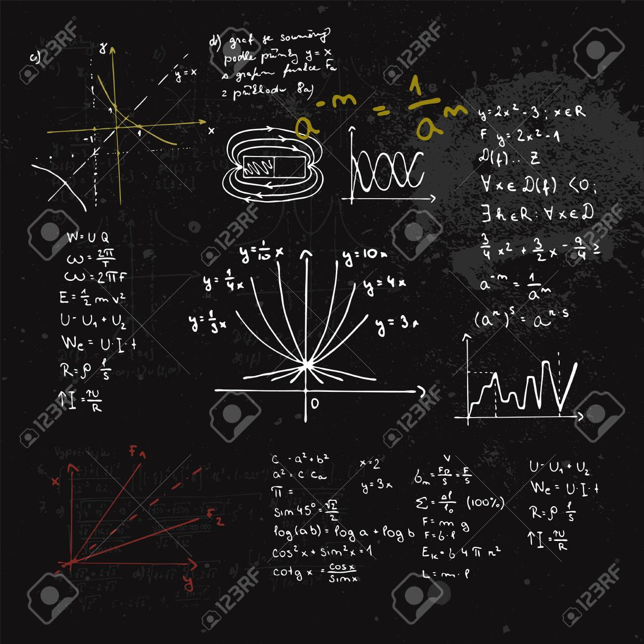 Handwritten mathematical formulas and graphs. Blackboard with calculations. - 155319199