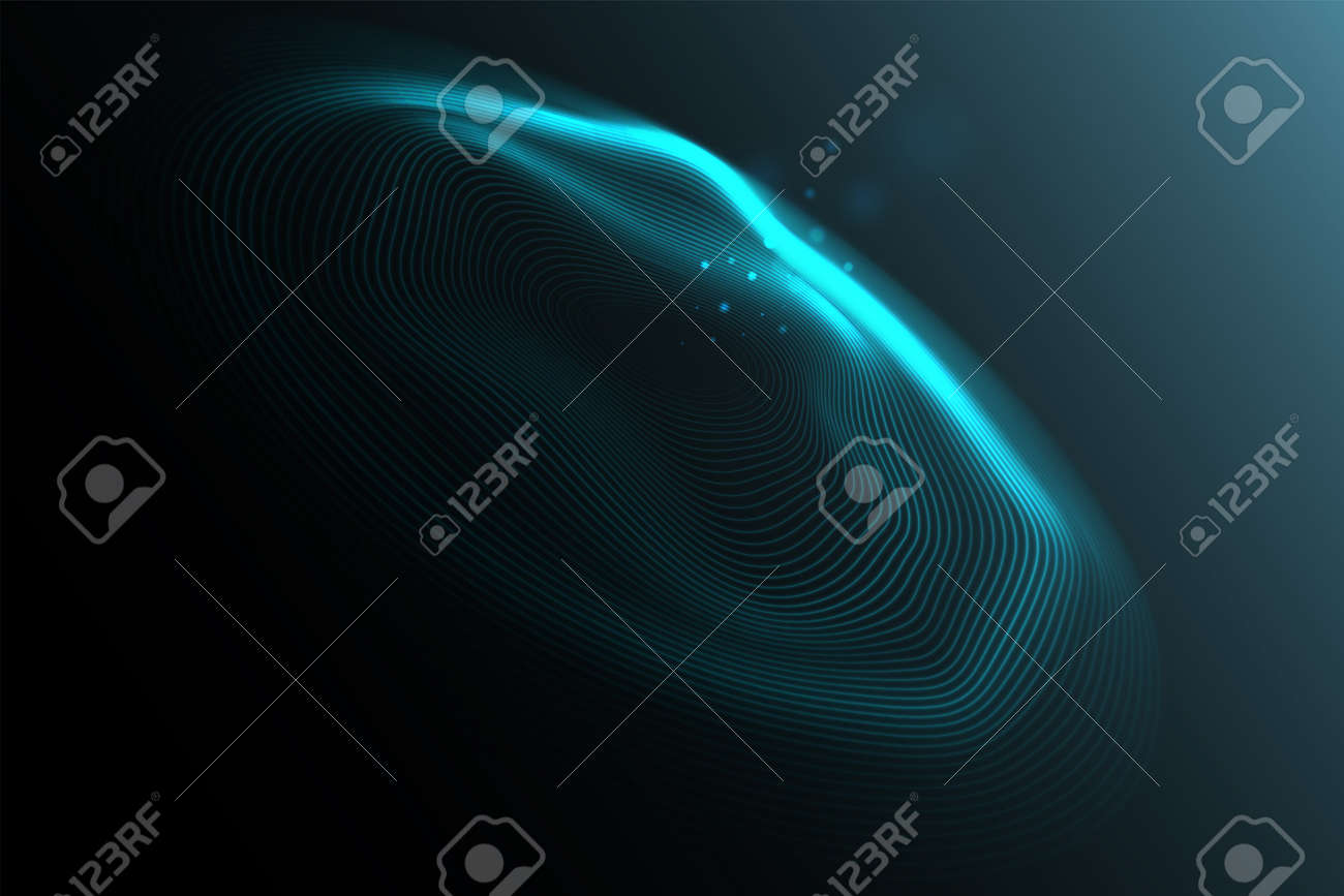 Sound wave visualization. Abstract flowing wave surface of circle lines. Technology, big data, science. - 157823898