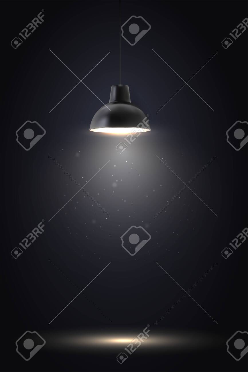 Lamp in dark room. Spotlight on black background. Place for text or product presentation. - 158475137