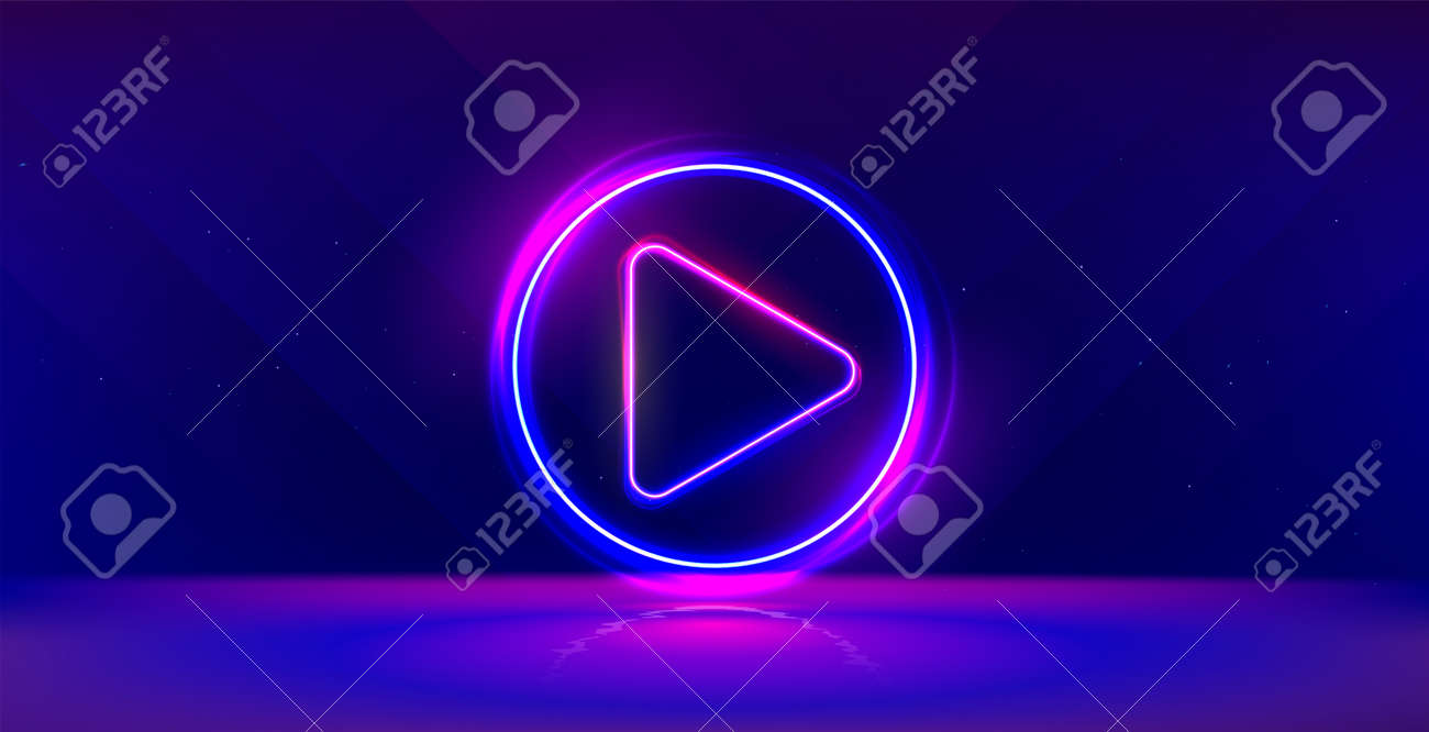 Wide gaming background with glowing play button. Press to play. Start button. - 159084511