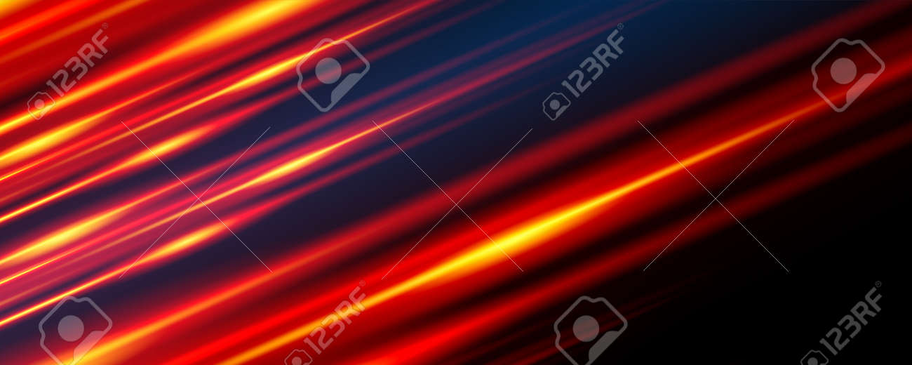 Glowing line banner. Gaming background. Light and stripes moving fast. - 159502560