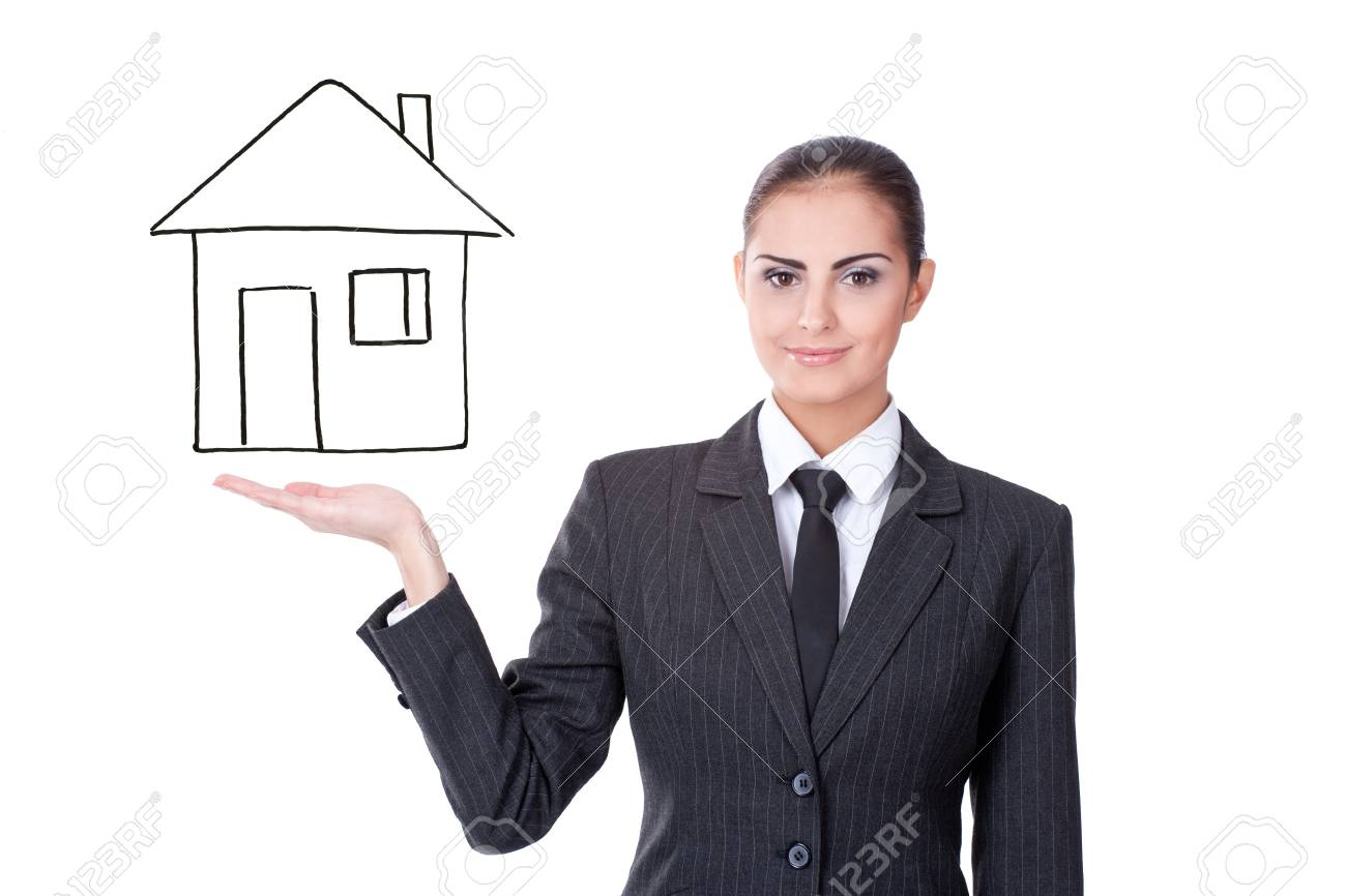 young businesswoman with virtual house on white background Stock Photo - 11432249