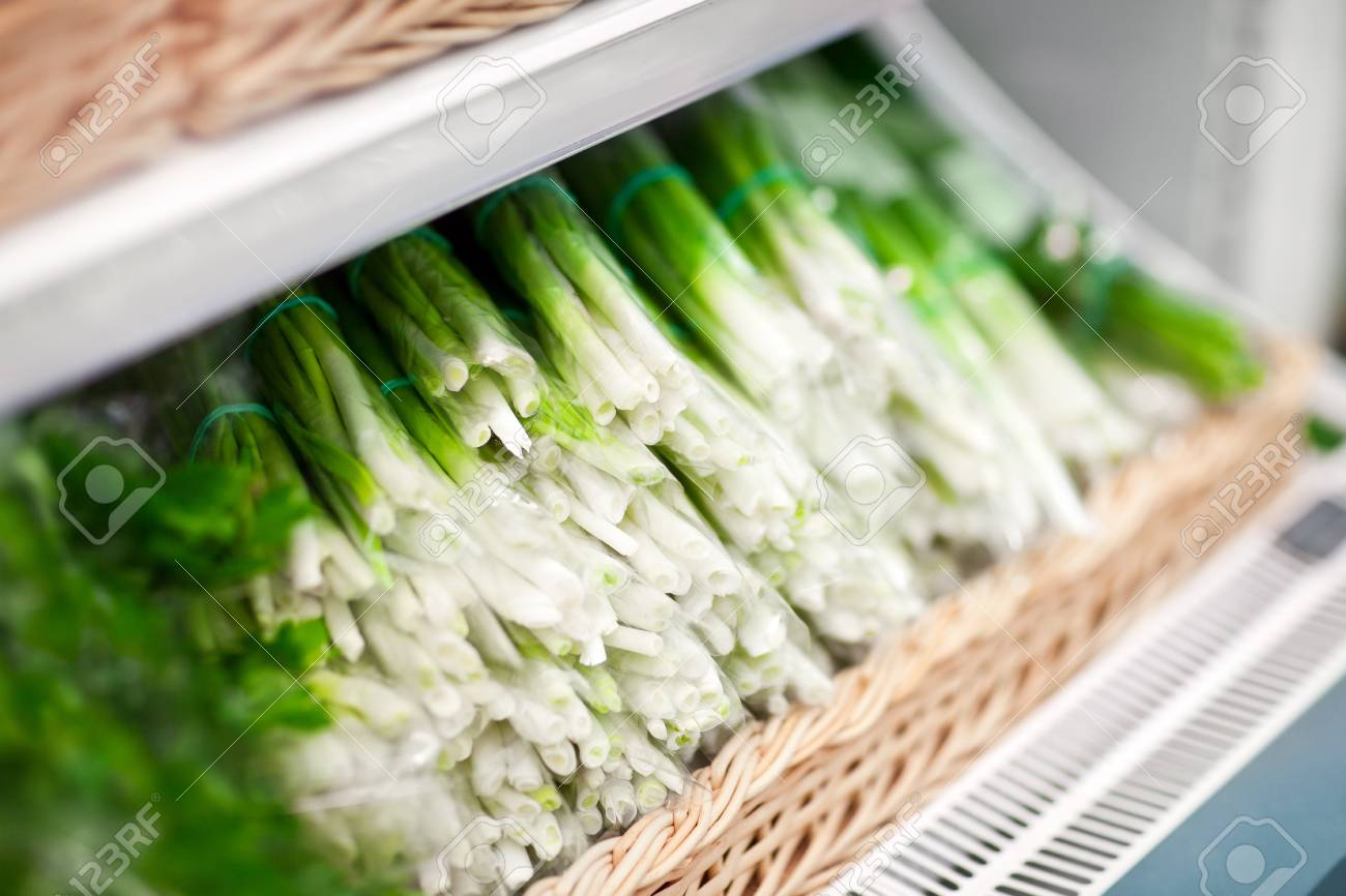 fresh green onion in box in supermarket Stock Photo - 16476724