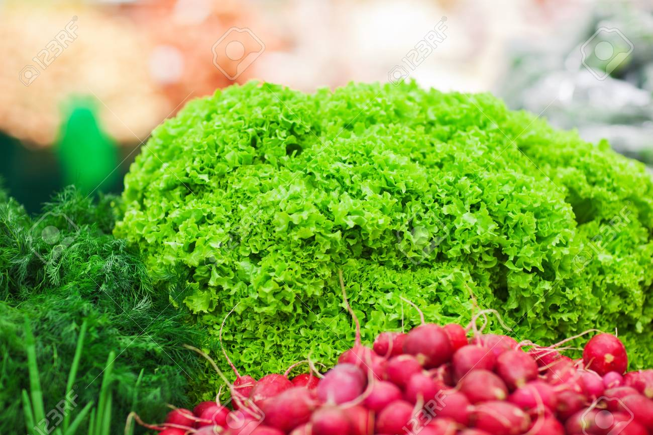 different green vegetables on the supermarket shelf Stock Photo - 18914981