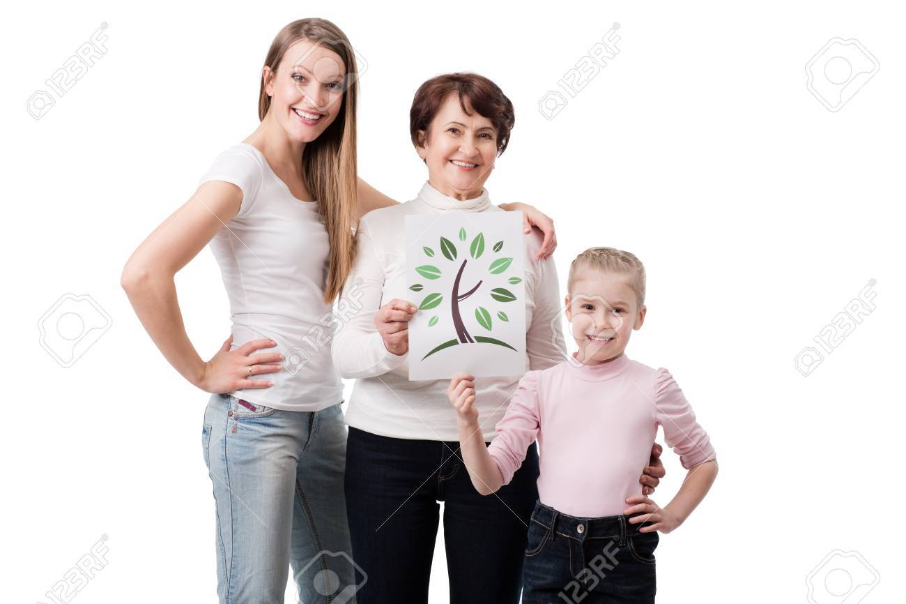 three generation of woman holding symbol of green planet Stock Photo - 19024922