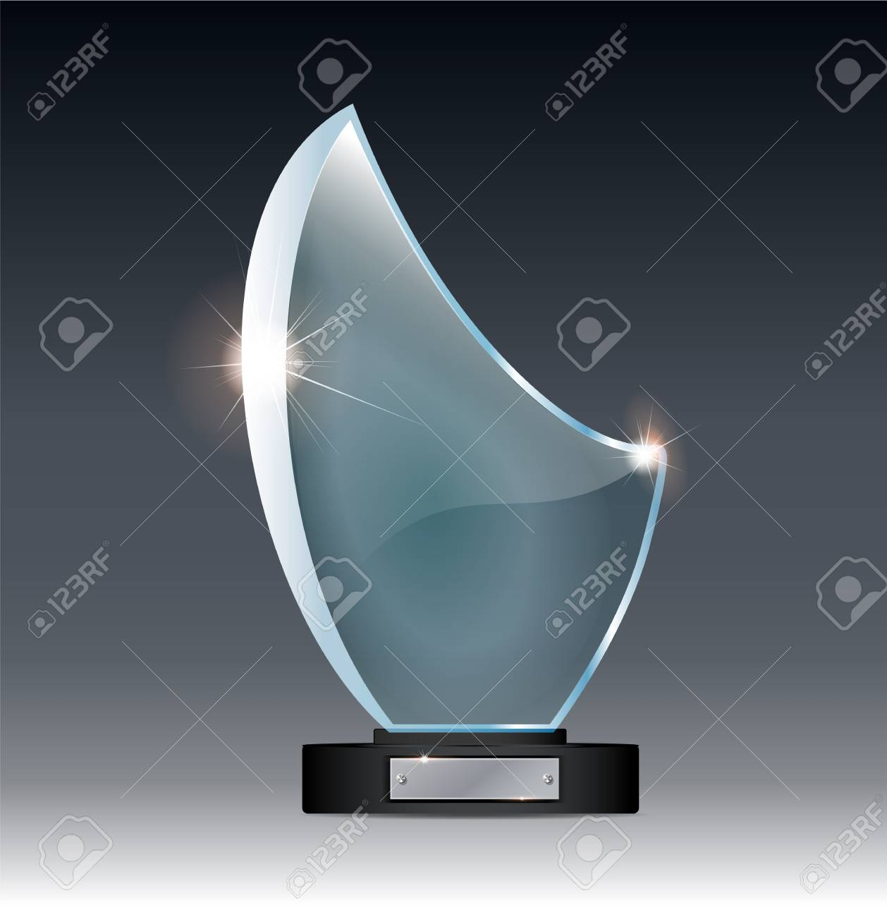 Blank Tall Glass Trophy Mockup Empty Acrylic Award Design Mock Up Transparent Crystal Prize