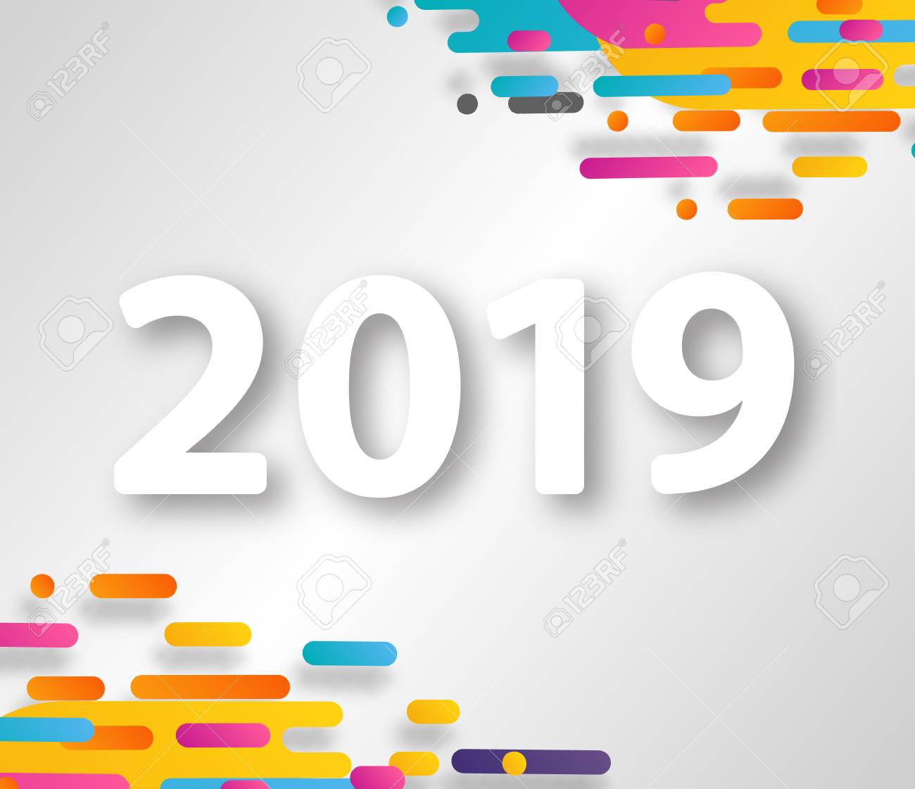 2019 happy new year design card on hipster halftone background vector illustrationeps 10