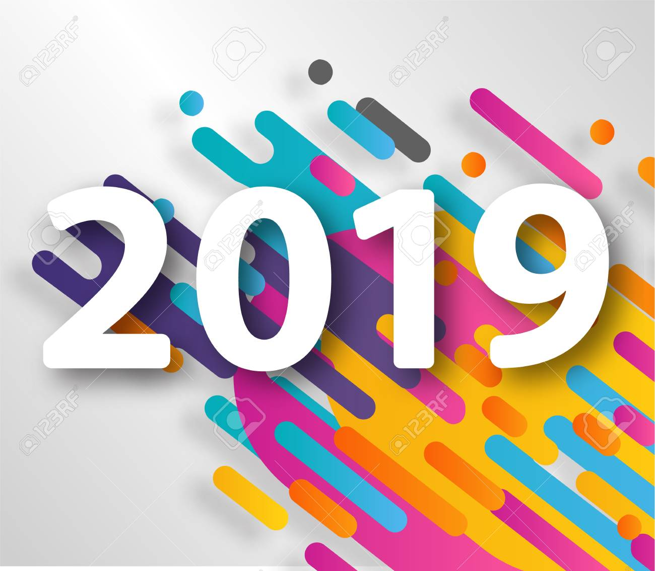 2019 happy new year design card on hipster halftone background stock vector 100694386