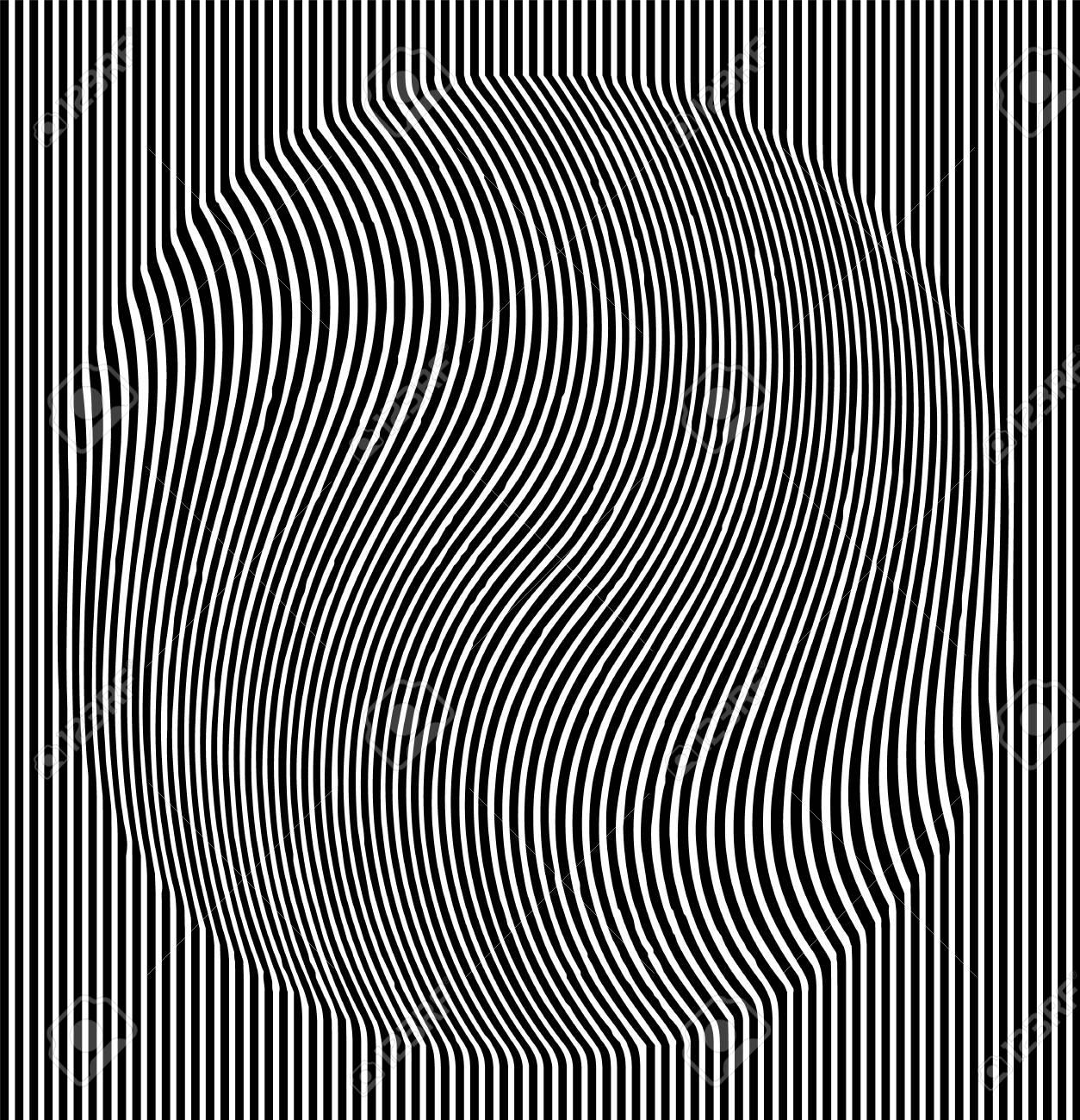Optical illusion effect. Geometric tile in menfis pop art style. Vector illusive background, texture. Futuristic element, technologic design - 117790497
