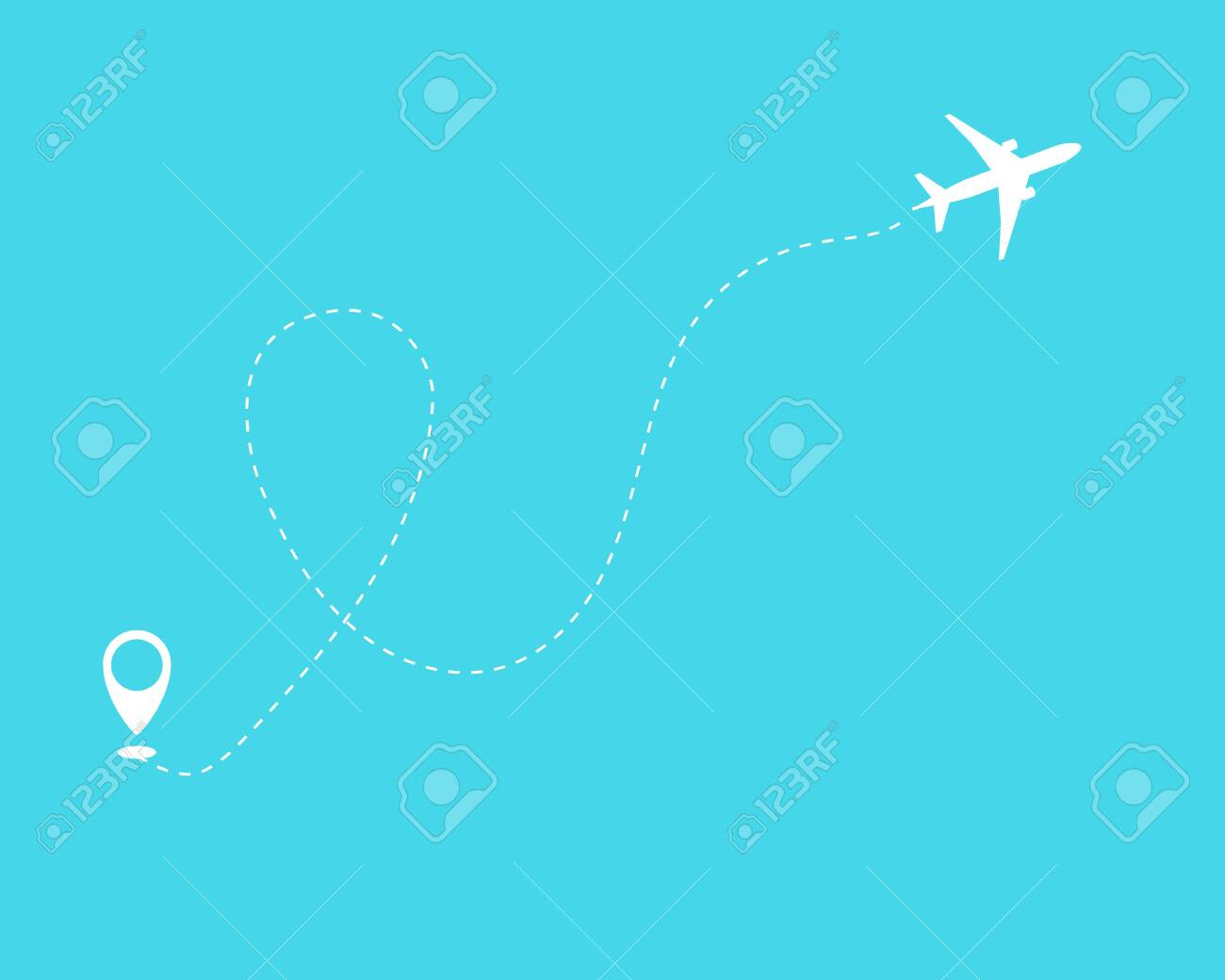 Flat plane and its track on blue background. Vector illustration 10 eps. - 124576906