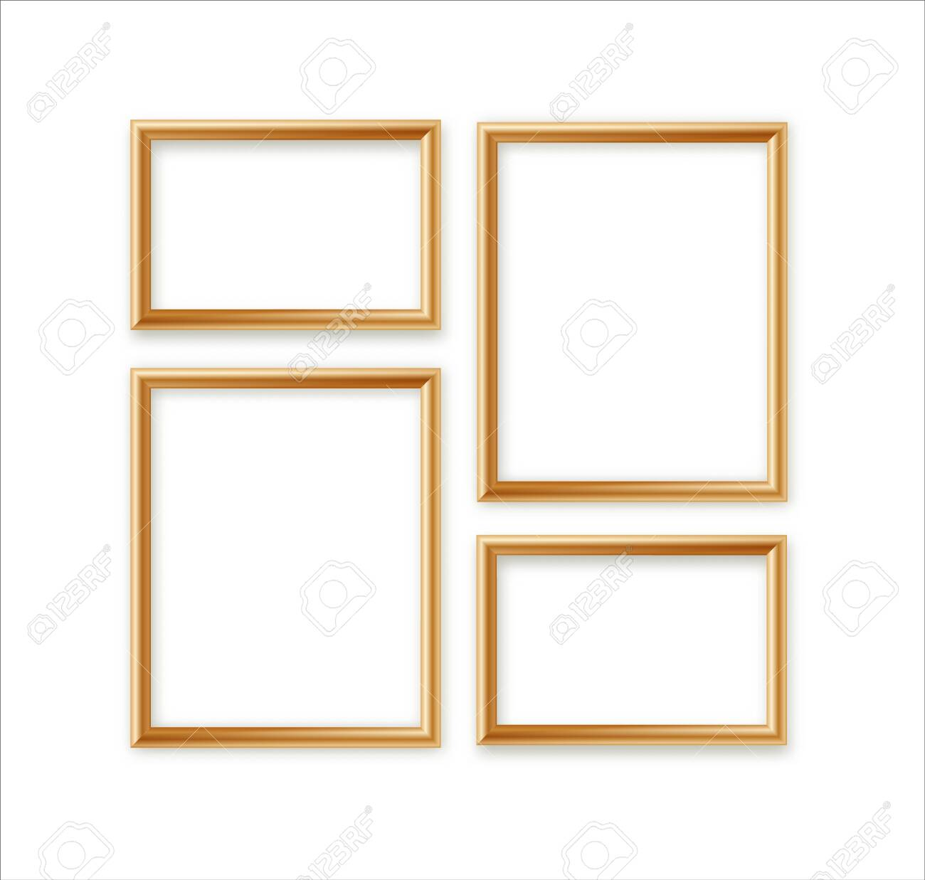 Vector Blank Picture Frame Template Composition Set Isolated on Wall Background - 135823274