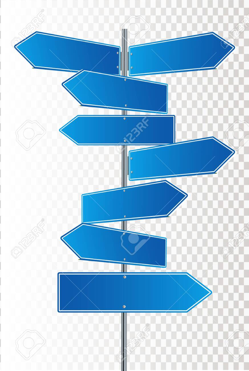 Direction road signs arrows on blue sky. Vector illustration EPS 10 - 148990652