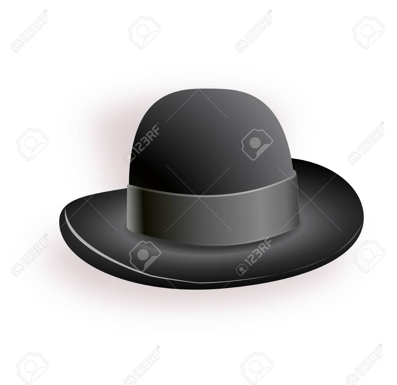 Black hat with black ribbon. Magic hat. Vector hat illustration EPS10 - 149657975