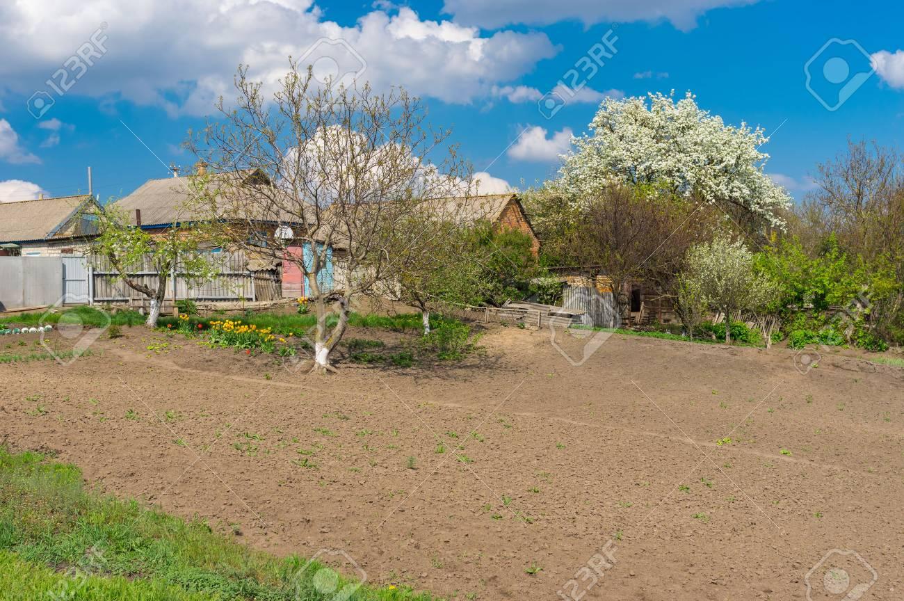Landscape With Spring Gardens In Seleshchina Village, Ukraine Stock ...