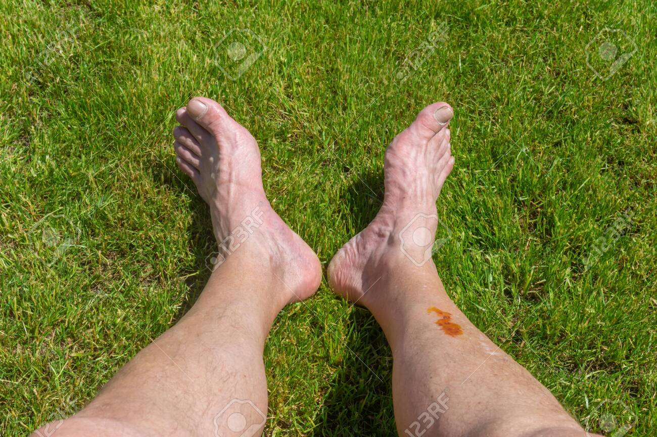 Senior feet lying on a green lawn while resting after long bicycle trip - 122205065