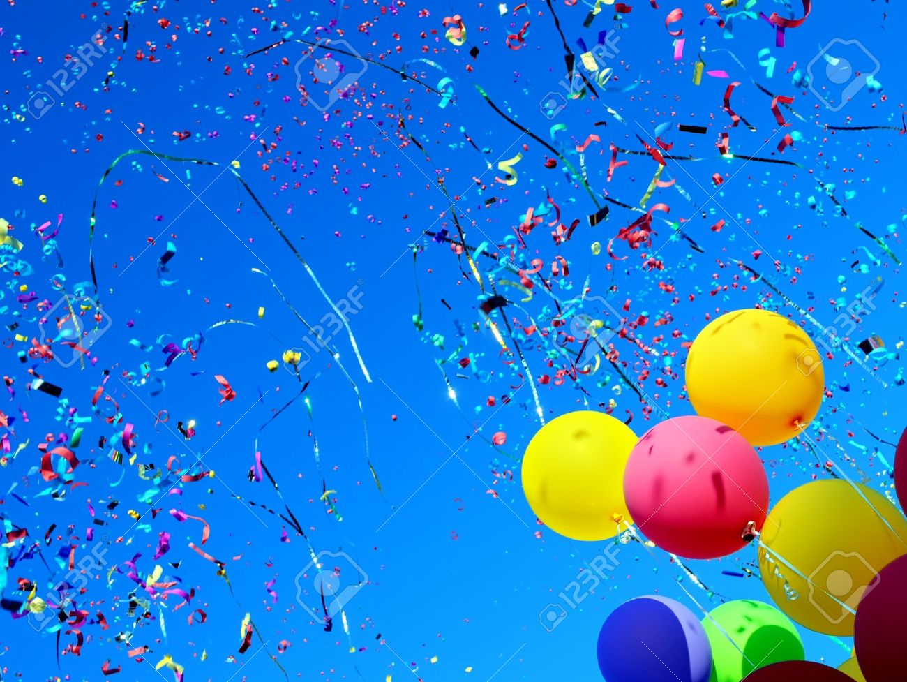 multicolored balloons and confetti in the city festival Stock Photo - 15385138