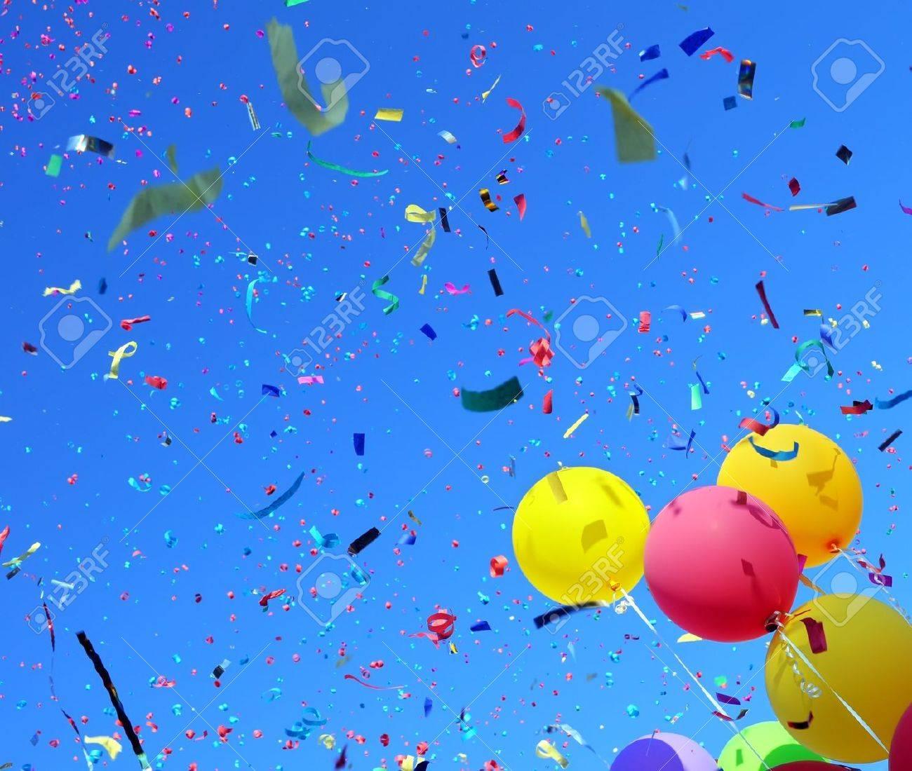 multicolored balloons and confetti in the city festival #3 Stock Photo - 16110120