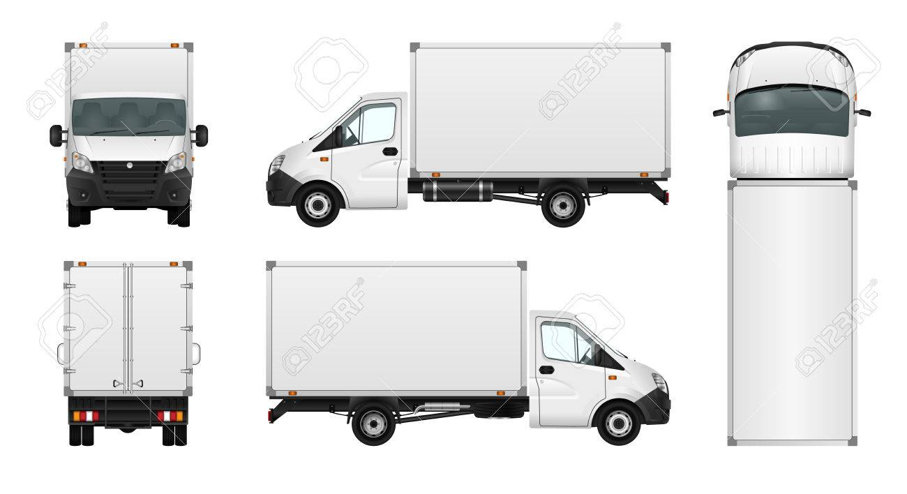 Cargo van vector illustration on white. City commercial minibus template. Isolated delivery vehicle. - 63246861
