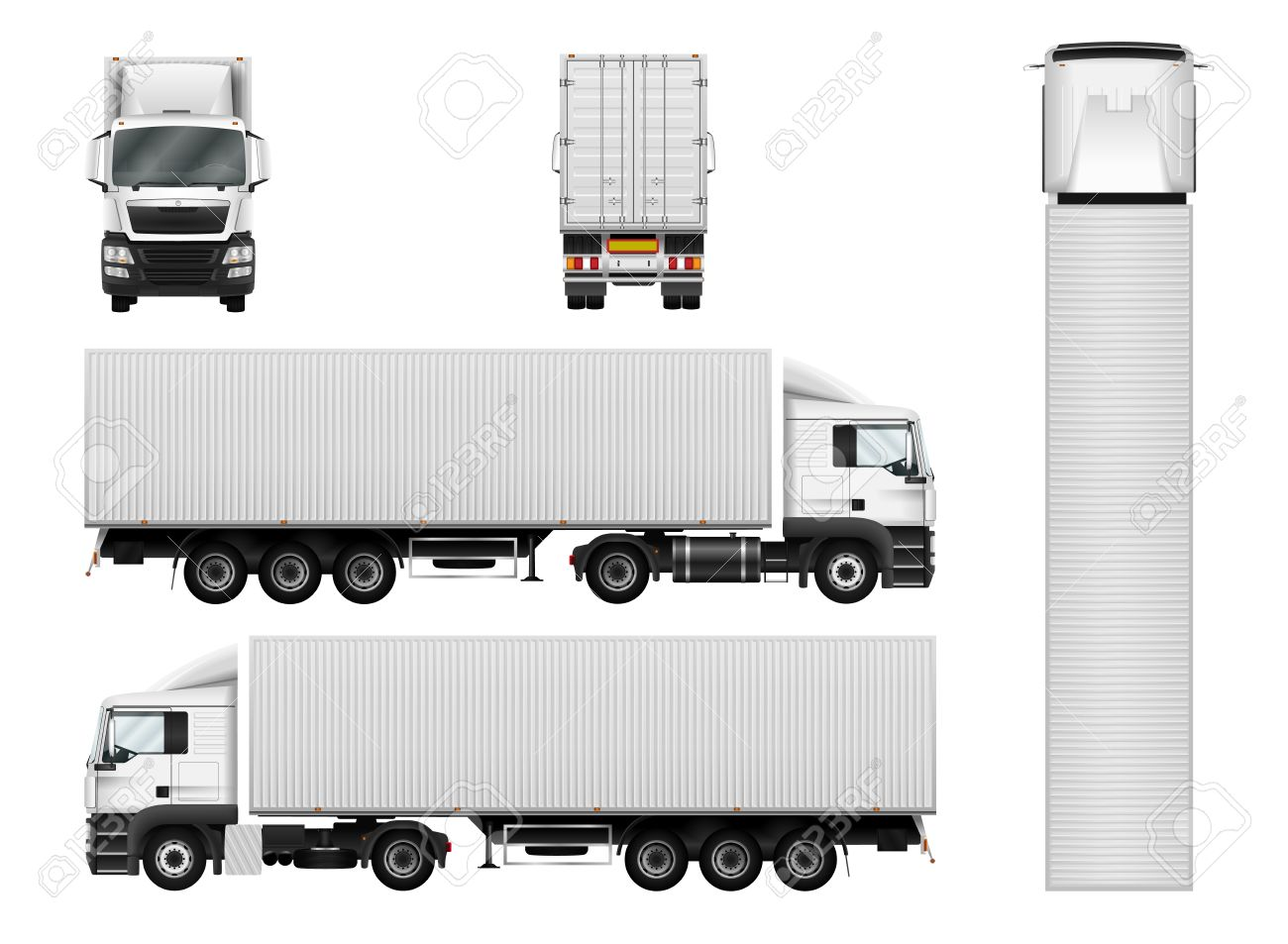 Truck trailer with container. Vector semi truck template on white. Cargo delivery vehicle. Separate groups and layers. - 64825231