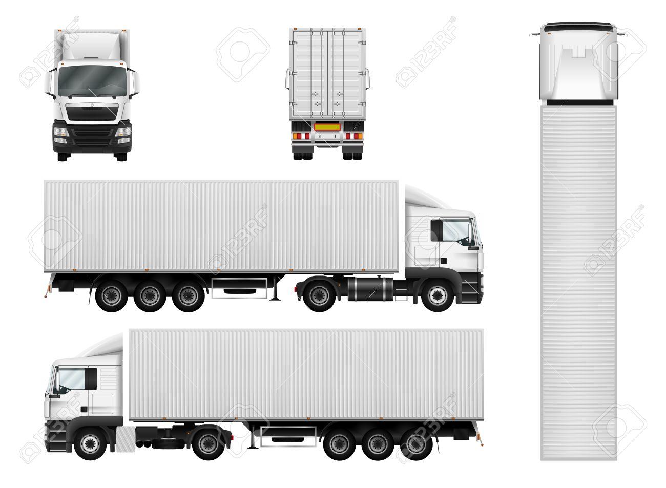 LKW-Anhänger Mit Container. Vector Semi Truck Vorlage Auf Weiß ...