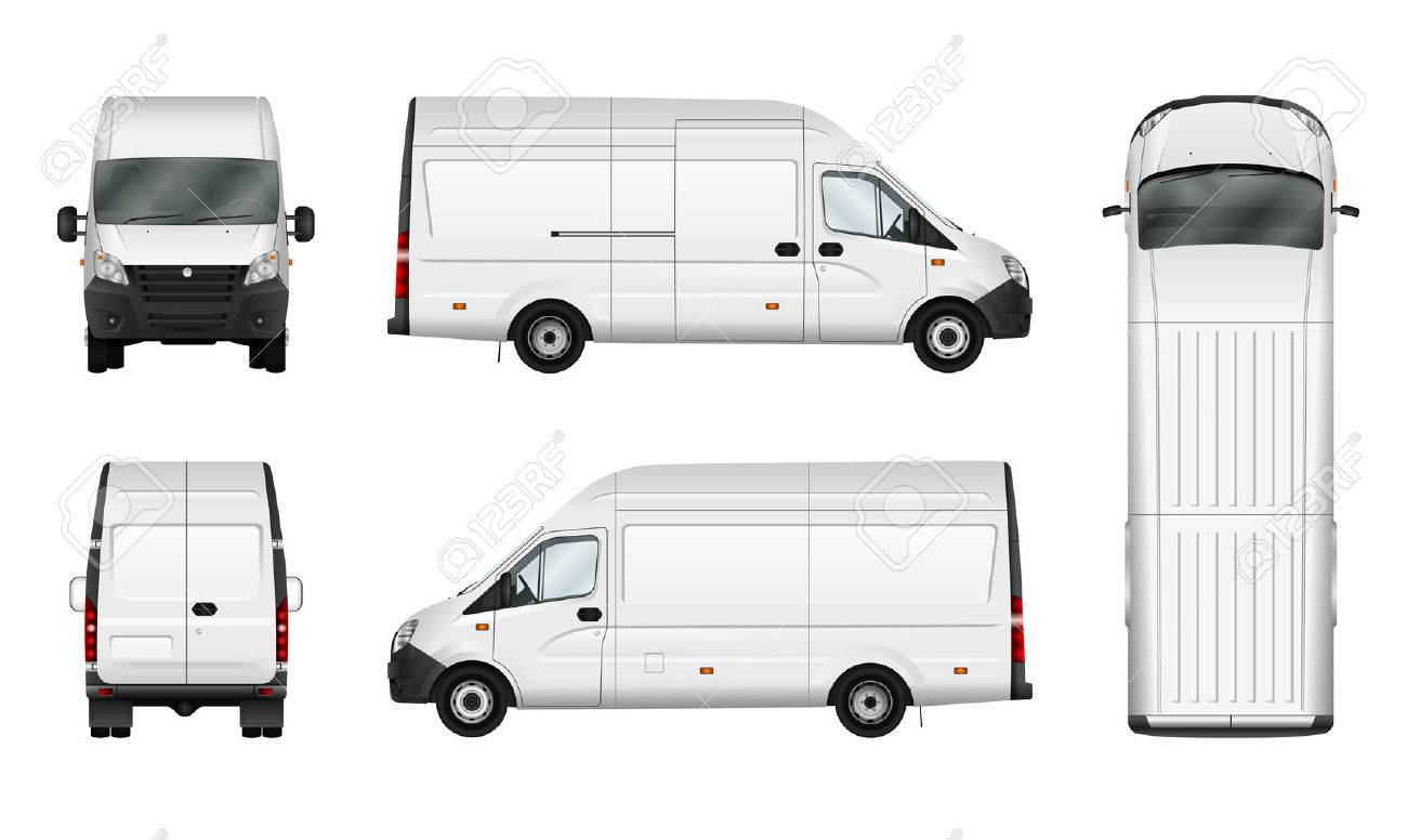 Koffer Vektor-Illustration Auf Weiß. Stadt Kommerzielle Kleinbus ...