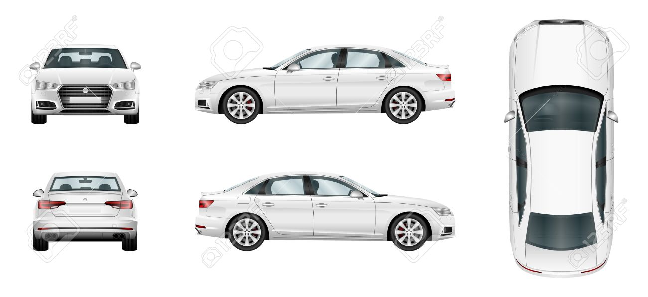 Car vector template on white background. Business sedan isolated. Separate groups and layers. - 64825298