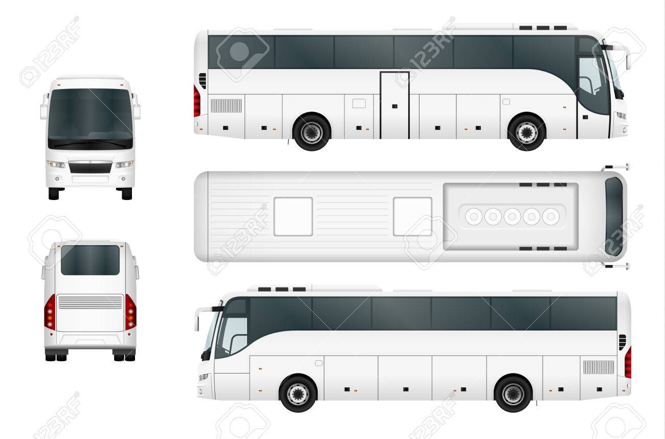 Vector bus template isolated on white background. Separate by groups and layers. - 64825323