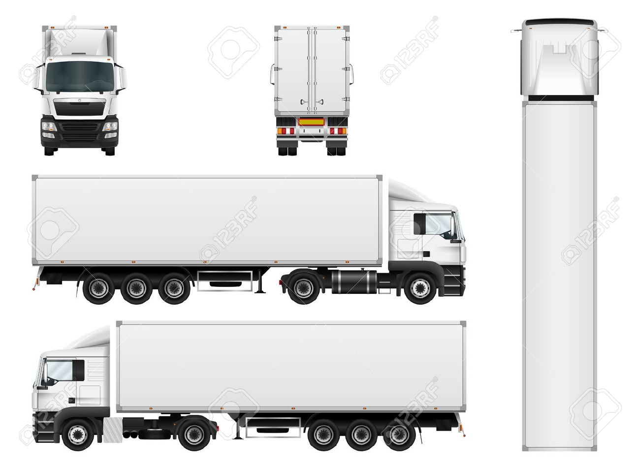 Vector truck trailer template isolated on white background. Cargo delivering vehicle. All elements in groups on separate layers. - 64825349