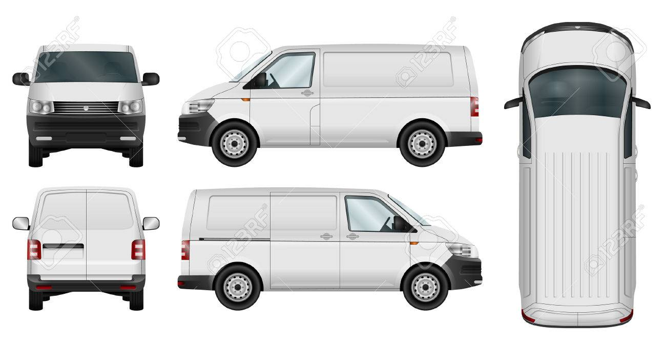 Car template. Cargo minivan isolated on white background. All elements in groups on separate layers. The ability to easily change the color. - 66543761