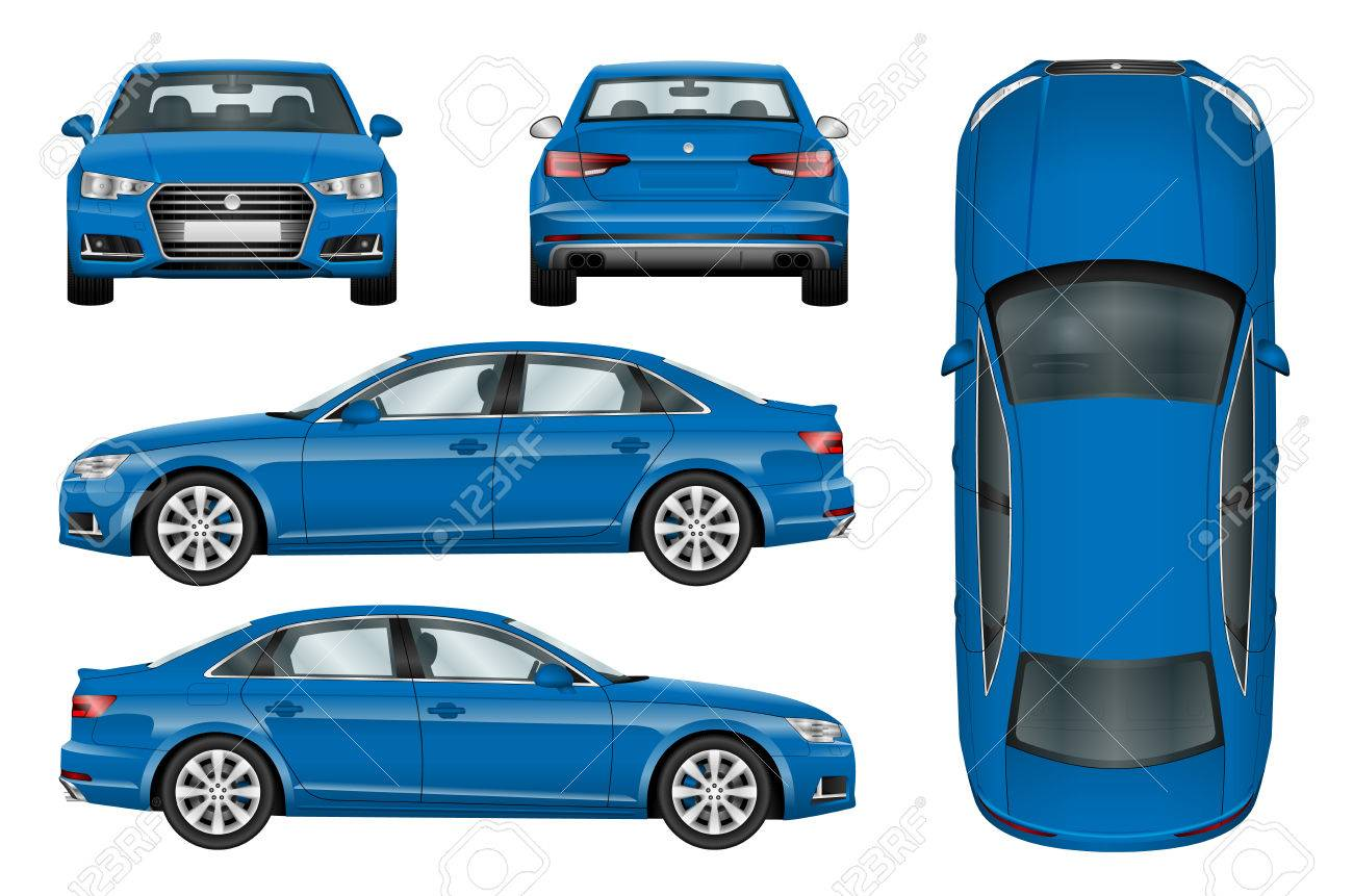 Blue car vector template on white background. Business sedan isolated. All elements in groups on separate layers. The ability to easily change the color. - 67679662