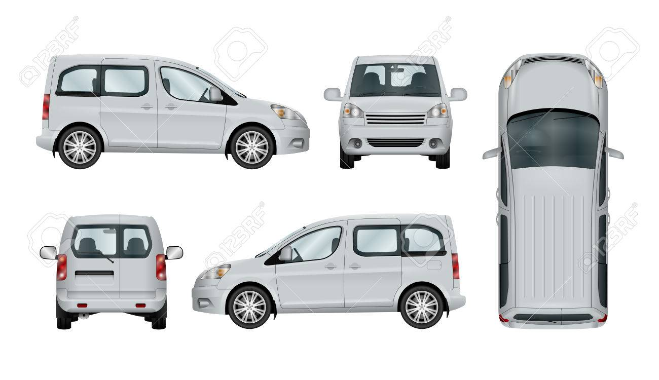 White service car template. Vector commercial vehicle isolated. The ability to easily change the color. View from side, back, front and top. All sides in groups on separate layers. - 72666537
