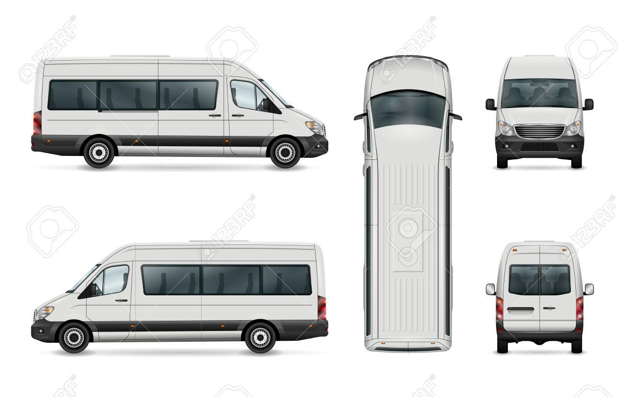 White van vector template  Isolated passenger mini bus  All elements