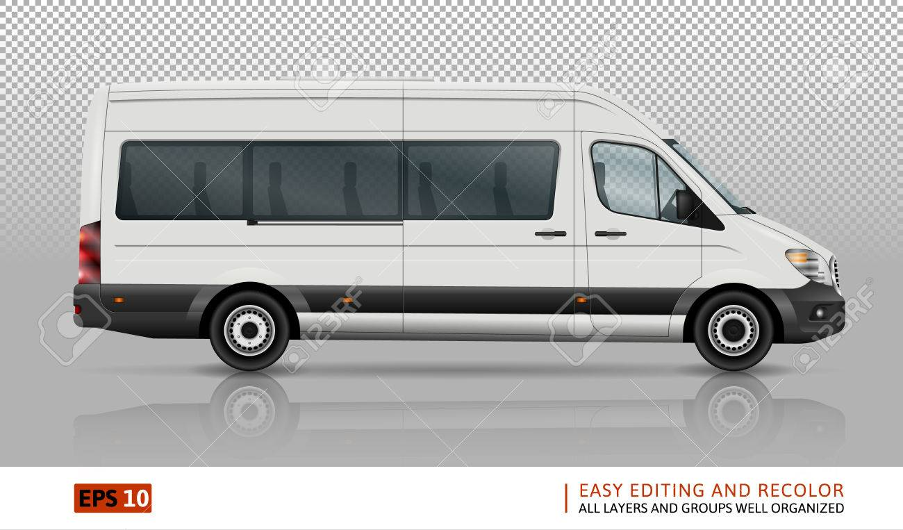 c7777dda4bcc Minivan vector template on transparent background. Isolated city minibus.  All layers and groups well