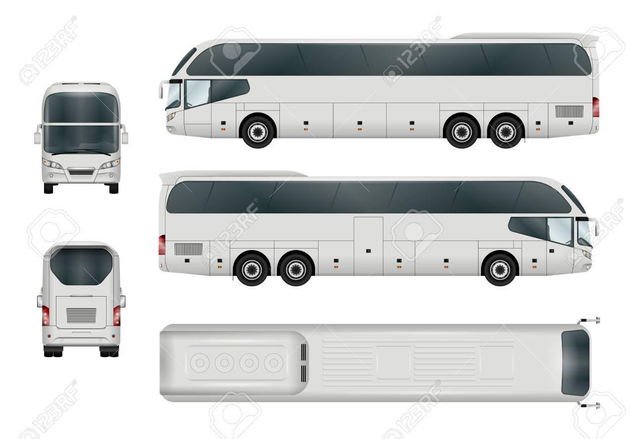 Weiße Bus-Vorlage. Reisebus, Isoliert Auf Weiss. Alle Elemente In ...