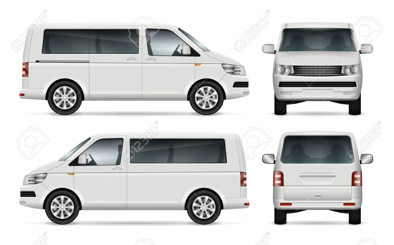 62b775e13f Mini bus vector template for car branding and advertising. Isolated city  minibus on white background. All layers and groups well organized for easy  editing ...