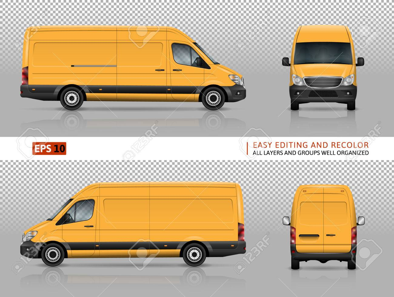 d6f20e1519e6 Vector - Yellow van vector template for car branding and advertising.  Isolated commercial truck on transparent background. View from left and  right side
