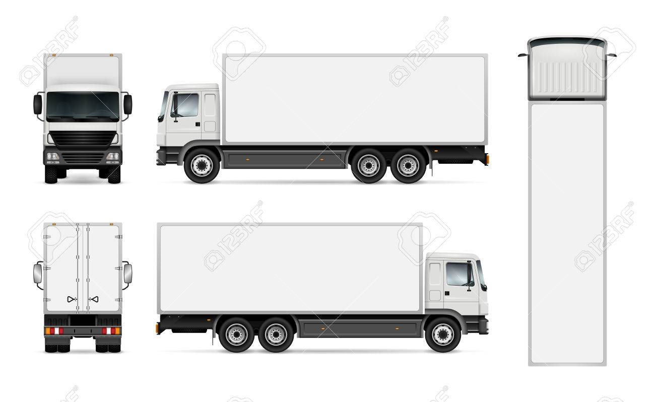 semi truck template for car branding and advertising isolated