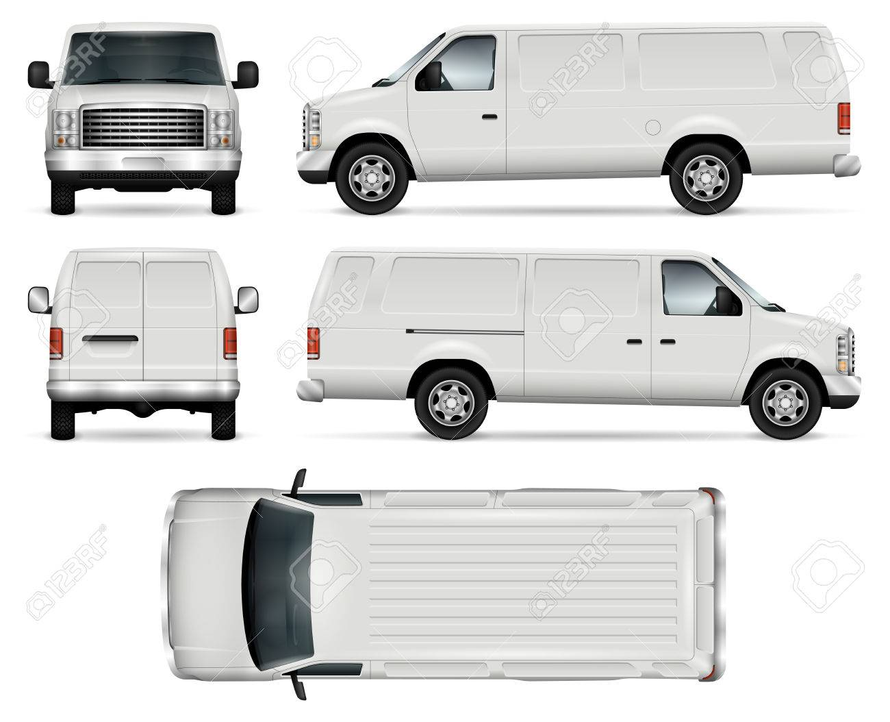 6c8003b298 Panel van vector template for car branding and advertising. Isolated truck  on white background.