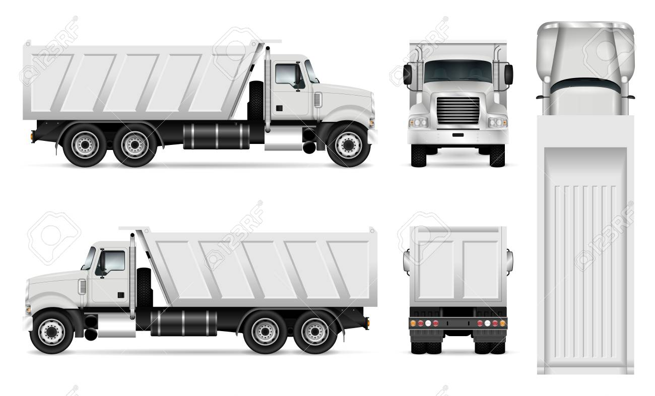 vector dump truck template for car branding and advertising