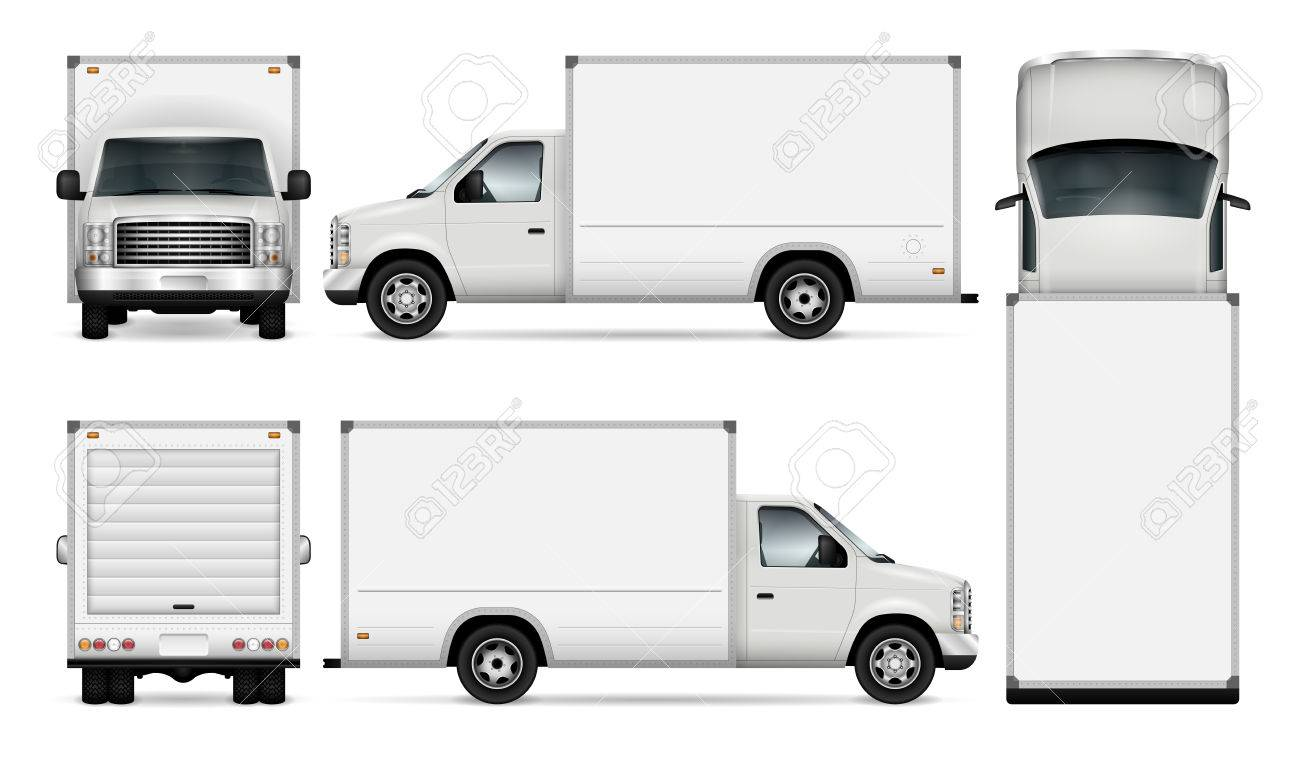 dfadeb5768 Van template for car branding and advertising. Isolated freight delivery  truck set on white background. All layers and groups well organized for  easy ...