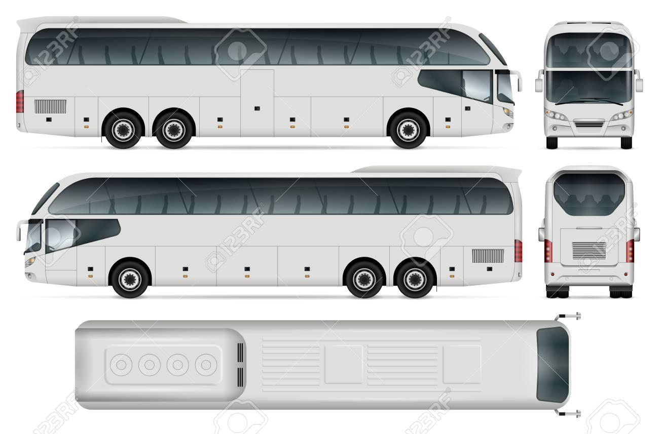White Bus Bus Vorlage Für Auto Branding Und Werbung. Isoliert ...