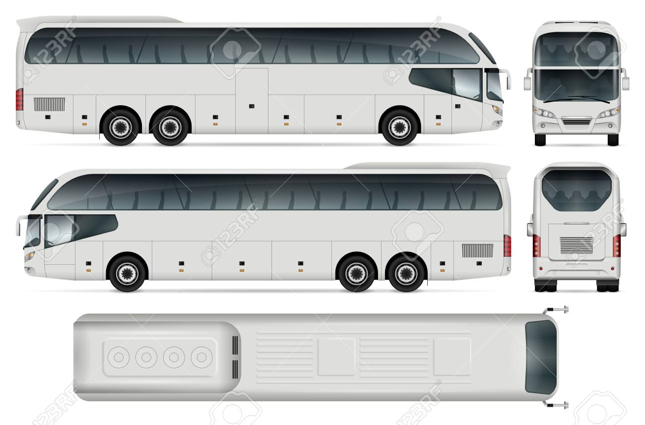 White Coach Bus Template For Car Branding And Advertising Isolated