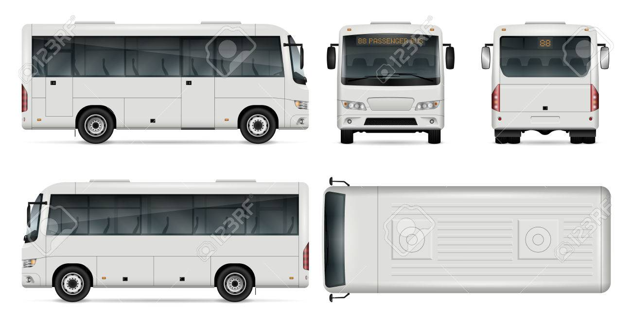 db4a7aa136 Minibus vector template for car branding and advertising. Isolated city mini  bus set on white background. All layers and groups well organized for easy  ...