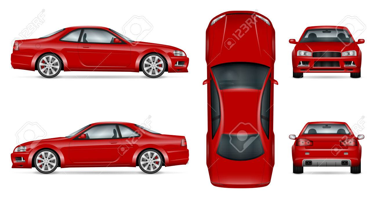 Red sports car vector template for car branding and advertising. Isolated coupe car set on white background. All layers and groups well organized for easy editing and recolor. - 83597114