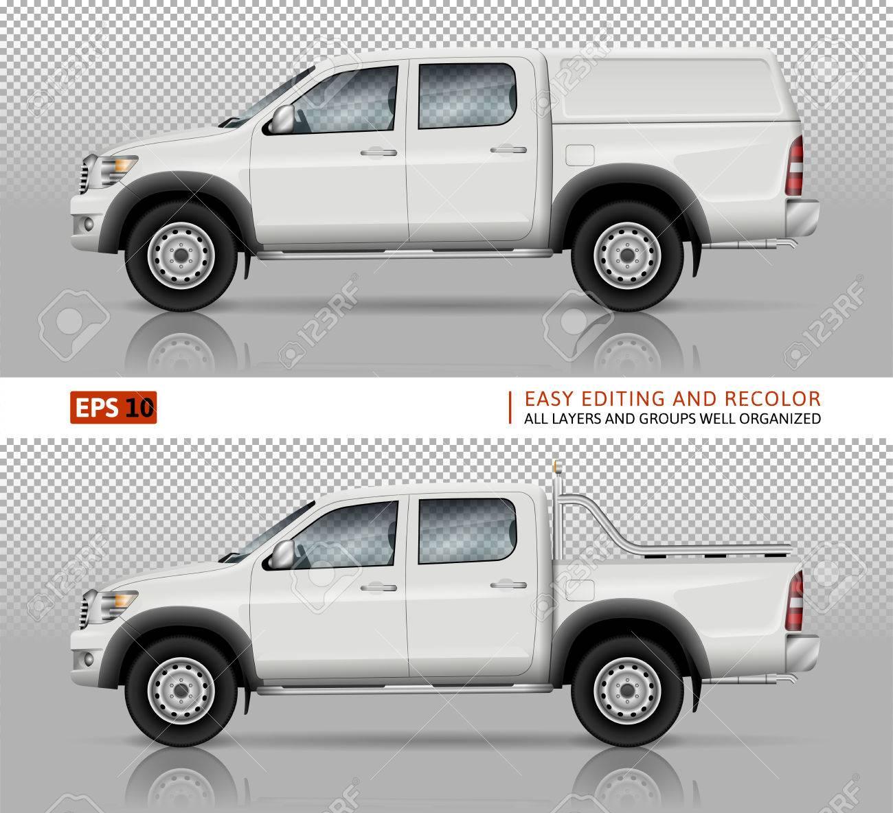 Pickup Truck Vektor Mock-up Für Auto Branding Und Werbung. Heben Sie ...