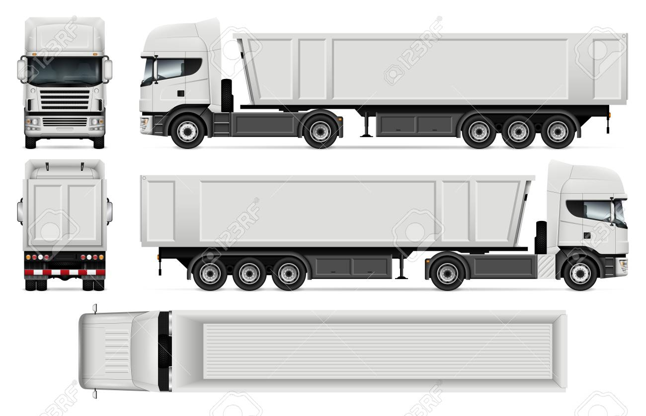 truck with trailer vector mock up for car branding advertising
