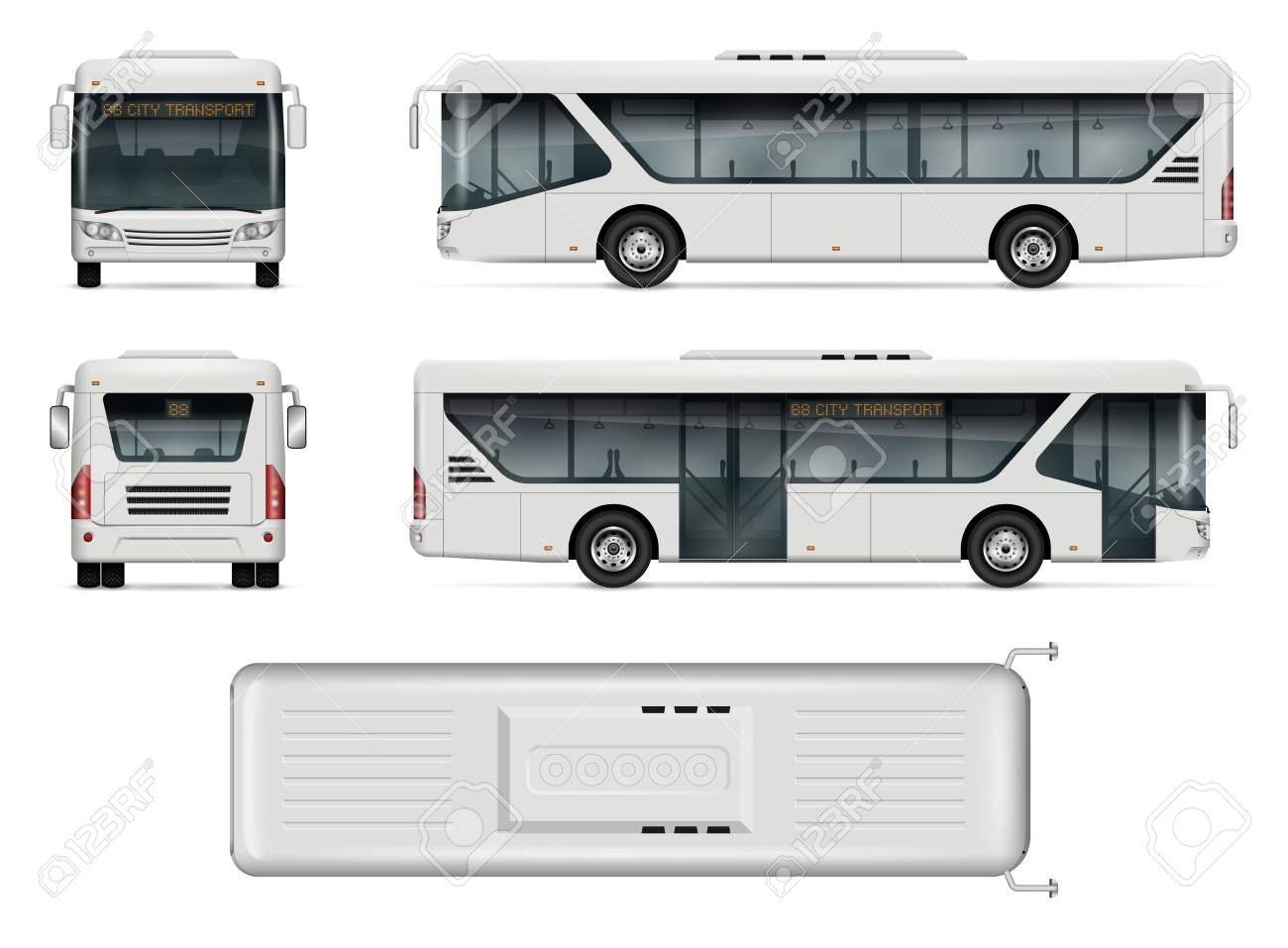 Bus Vector Mock Up Isolated Template Of City Bus On White