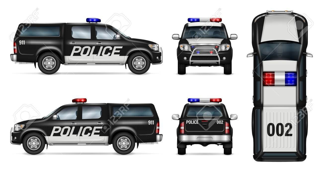 police car vector mock up isolated template of black pickup