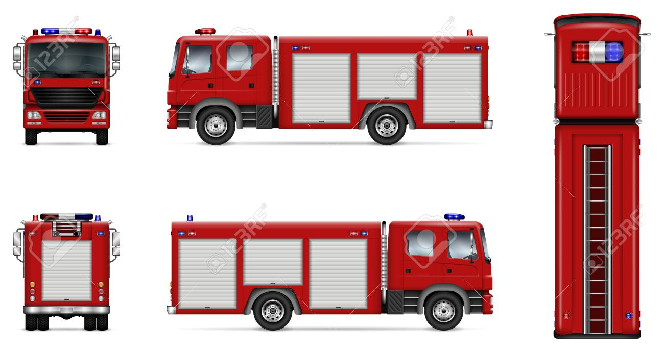fire truck vector mock up isolated template of red lorry on