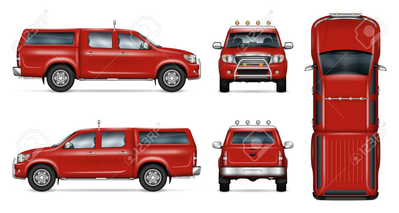 Pickup Truck Vector Mock Up Isolated Template Of Red Pick Up Royalty Free Cliparts Vectors And Stock Illustration Image 99636586